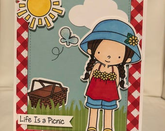 Life is a picnic card with white envelope