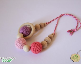 Nursing necklace recycled cotton purple pink coral