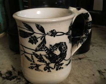 Black White Floral Coffee Mug - 8 0z. Hand Thrown Stoneware Mug in White Glaze with Wrapped Floral Design