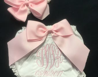 Baby girl Clothes  Monogramed Diaper Cover with Big Bow attached and Monogram. Matching Headband Baby 0 to 24 months Toddler 3T and 4T