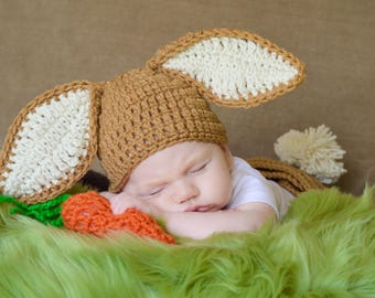 Crochet Bunny Hat ONLY Baby Easter Bunny Hat Newborn Bunny Hat Crochet Bunny Hat Photo Props Easter Props for Babies