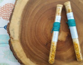 Organic Bath Salts, Organic Bath Soak Test Tube, (One) Organic Geranium Bath Salts Stick. 75oz. All Natural Skin Care, Natural Dye.