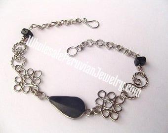 Black Onyx Teardrop Alpaca Silver Diamonds Inca Bracelet Peruvian Jewelry - Handmade in Peru
