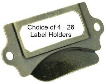 ANTIQUE BRASS Label Holders With Cupped Handle-Choice of 4 – 26 Label Holders with Screws-LHC011