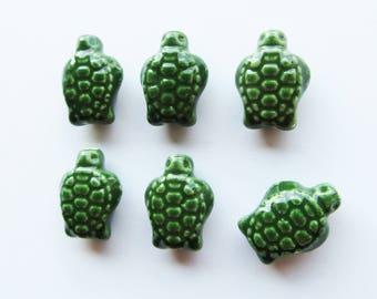 Handmade Glazed Porcelain Tortoise Turtle Ceramic Beads 18mm Green