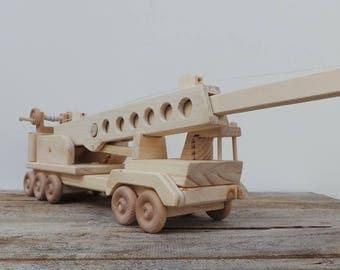 Wood Toy Construction Crane-Handmade-Push Pull Toy-Heirloom Toys