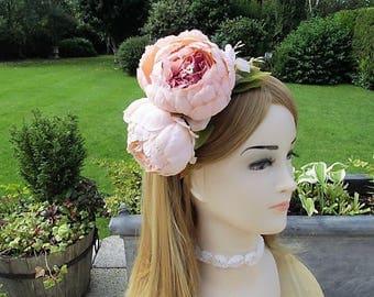 Bridal fascinator, Wedding flowers, Vintage wedding, Blush Peony headband, Bridesmaids flowers, flower crown, nude peony hairband, tea party