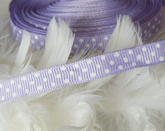 x 4 yards of Purple Ribbon with white dots grosgrain Ribbon 10 mm