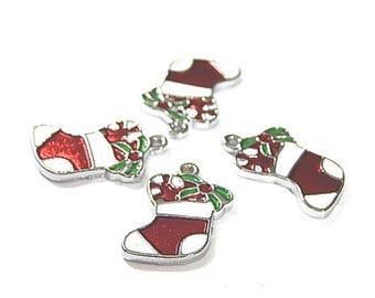 4 shape shoe Santa red and white enameled metal charms