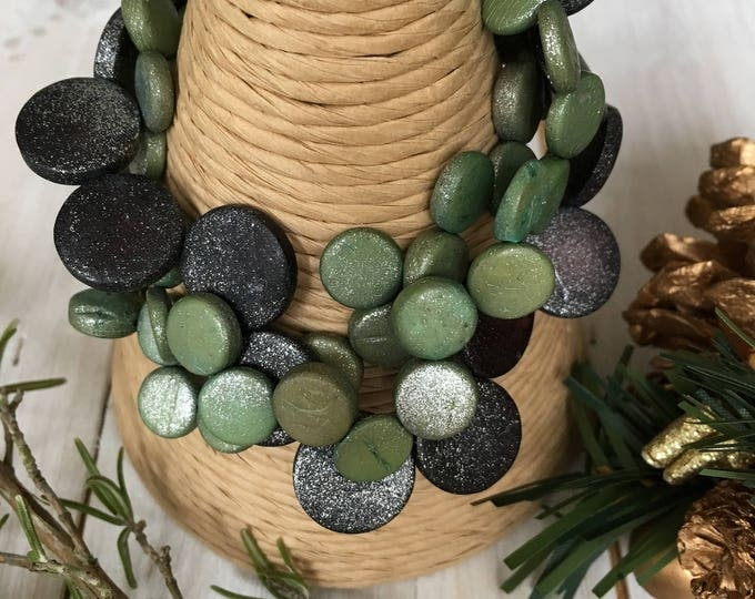 Coconut Shell Natural Bracelet, by Ecoblue fair trade jewellery - Green, Gray and Silver