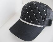 Hat, Womens Hats, Black Hat, Quilted Trucker Hat,  Bling Hat, Sparkle Hat, Rhinestone Cap, Baseball Cap,  Womens Hat,Crystal Hat