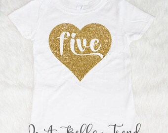 Five Heart Birthday Shirt Birthday Girl Shirt 5th Birthday Shirt Girl Five and Fabulous 5 Year Old Birthday Shirt 5th Birthday Outfit Girl