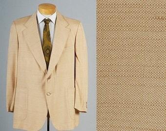 SALE Mens Vintage 70s Cream Silk Blazer Jacket Sportcoat South Beach Large 46 46L
