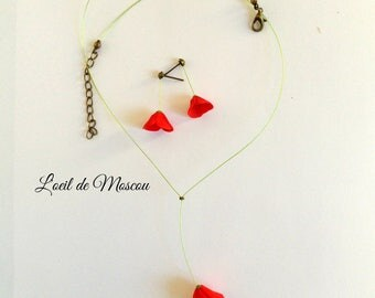 adornment necklace and earrings poppy with ease