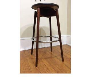 mid century modern walnut swivel black bar stool