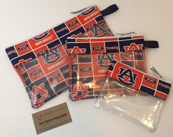 Auburn Tigers Vinyl-lined Cosmetic Bags