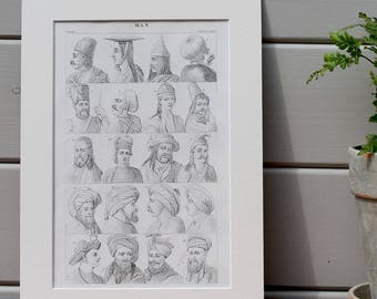 Antique Print - Sketches of Man Circa 1860