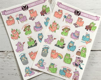 Kawaii Planner Llamas Sticker Sheets