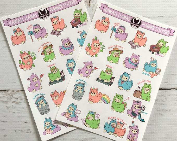 Featured listing image: Kawaii Planner Llamas Sticker Sheets