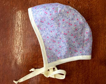 Vintage style baby bonnet, handmade bsby girl hat