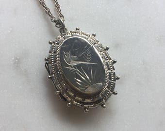 RESERVED                                            Victorian Sterling Silver Locket Pendant Necklace