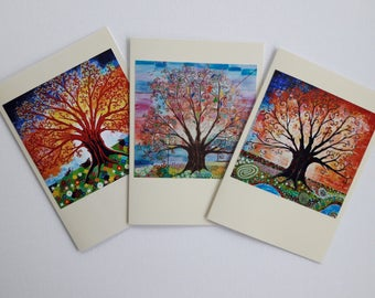 Tree of Life Art Nouveau Pagan Greeting Card Colorful  Folk Art Psychedelic Nature Art Pack of 3