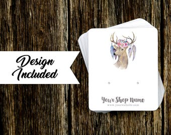 Jewelry Display Cards | Earring Cards | Necklace Cards | Deer Floral & Feathers