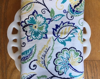 Blues and White Floral Cloth Napkin