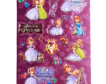 Sofia the First Kids Raised 3D Sticker Sheet Purple 2 Pack
