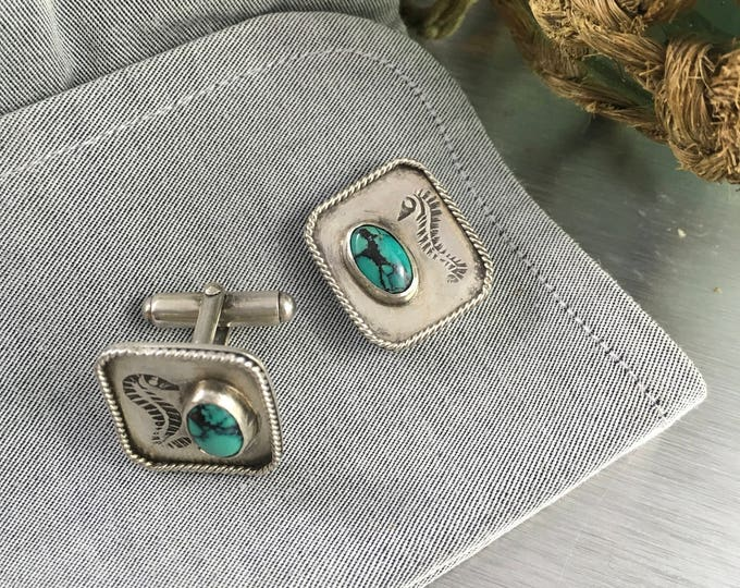 Featured listing image: Seahorse cufflinks Hubei turquoise set in sterling silver