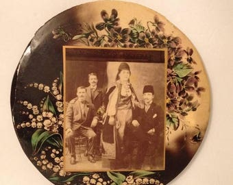 ON SALE Large Antique Celluloid Late 1800's / Early 1900's Button Photograph Photo AS Is Group Photo Traditional Dress