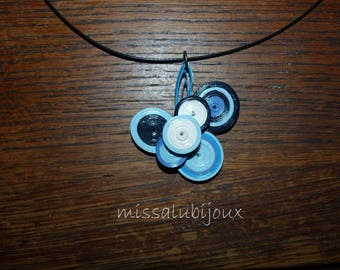 set made with quilling crew neck and pendant and blue tones earrings