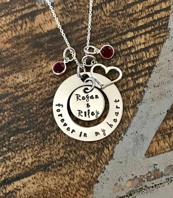Forever in my heart necklace memorial necklace engraved jewelry il570xn aloadofball Images