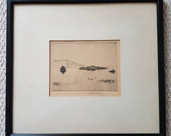 Robert Houston Loch Leven Original Limited Edition Etching 1924