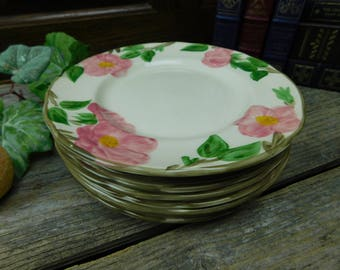 Set of 4 Vintage Franciscan Desert Rose Salad Plates - England