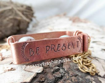 Be Present Upcycled Handstamped copper and Amazonite pendant