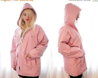 BIG SALE Vintage 1990s dusty rose pink raincoat rain coat mac with hood and plaid lining
