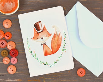 Greeting Card with fox - Illustrated card, fox with heat