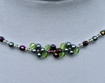 Silvery Blue Glass Pearl and Purple and Green Glass Faceted Beads Flower Beadwoven Necklace