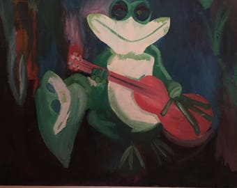 frog playing guitar