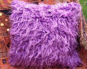 Purple Monster Fur Fluffy Hug Me Cushion Cover