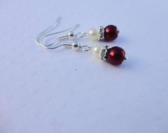 Wedding earrings, Bridal ivory Burgundy (white) Rhinestones, 925 sterling silver, nickel free