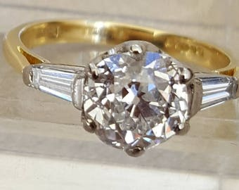 Old-Cut Diamond 1.50ct Ring with Baguette Diamond Shoulders totalling approx 1.70 ct