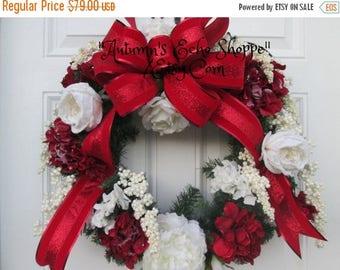FROSTED FLORAL WREATH  , Faux Evergreen Wreath  ,Luxury Christmas Decor Wreath , Holiday Door Wreath , Seasonal Door Wreath , Interior Decor