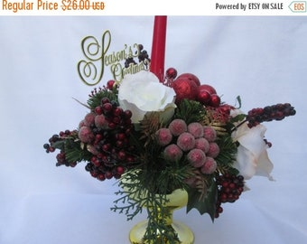 CHRISTMAS CANDLE CENTERPIECE  Christmas Floral  CandleCenterpiece  Christmas Decor  Holiday Decor  Interior Decor Seasonal Floral Decorating
