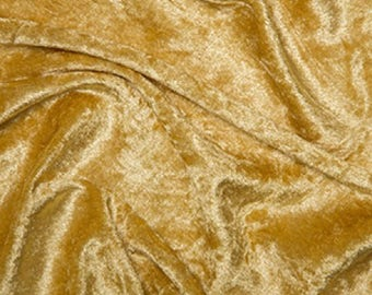 "Gold Crushed Velvet Velour Fabric Material - Polyester - 150cm (59"") wide"