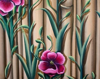 Bamboo Hibiscus, Original artwork by Artist Susan Hunt Johnson,  Print on Artist Quality Archival Paper