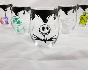 Nightmare Before Christmas Inspired Wine Glass Set, Gifts for her, gifts under 20, gifts under 25, bestfriend gifts, jack skellington