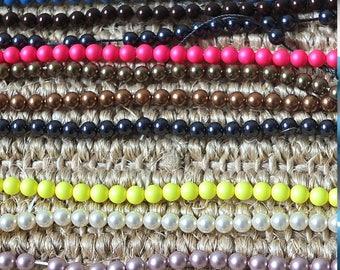 Coloured stringing Swarovski pearls