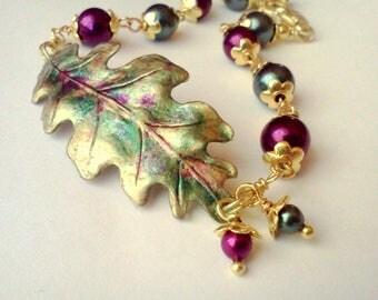 Oak Leaf Bracelet, Handmade Leaf Bracelet, Oak Leaf Anklet, Hand Painted Bracelet, Painted Leaf Bracelet, Multi Color Leaf Bracelet, Boho